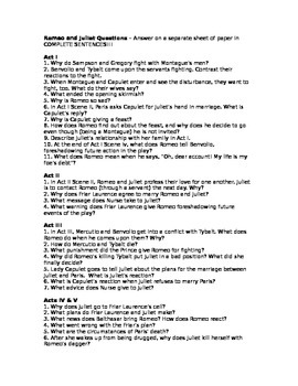 Romeo and Juliet Questions - All Five Acts