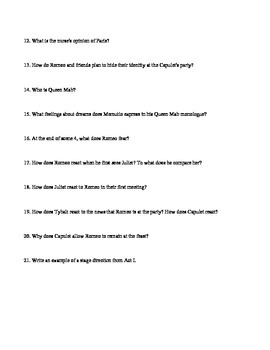 Romeo and Juliet Questions for All Acts aligned to Pearson