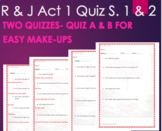 Romeo and Juliet Quiz Act 1 Scene 1 and 2 Option A and B with ANSWER KEY