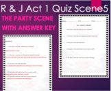 Romeo and Juliet Quiz Act 1 Scene 5 Party Scene with ANSWER KEY