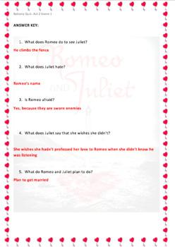 Romeo and Juliet Quiz Act 2 Scene 1 Balcony Scene with ANSWER KEY