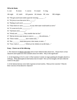 Romeo and Juliet Quiz Acts 1 and 2