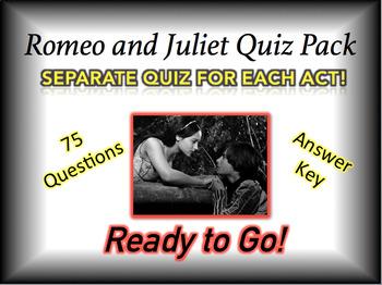 Romeo and Juliet Quiz Bundle