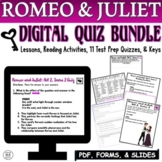 Romeo and Juliet Quiz Reading Comprehension Digital BUNDLE