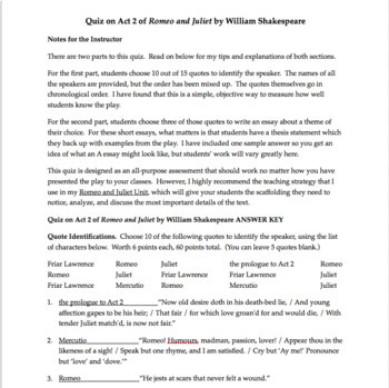 Romeo  Juliet Quiz Act   Romeo  Juliet Act  Quiz  Essay Questions