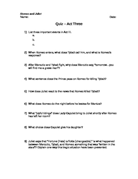 Romeo and Juliet Quizzes