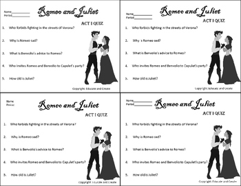 Romeo and Juliet Quizzes Act 1-5