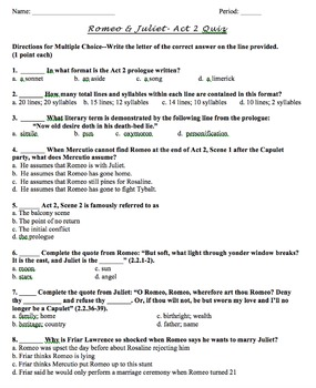 Romeo and Juliet- Quizzes and Answer Keys on All 5 Acts