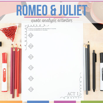 Romeo and Juliet: Quote Task Cards and Presentation