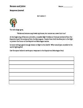 Romeo and Juliet Reader Response Journals Act I-V