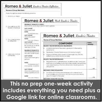 Romeo and Juliet Reader's Theater Performance Activity