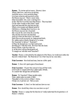 Romeo and Juliet Readers Theater Act III, scenes 3&4
