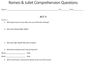 Romeo and Juliet Reading Guide - All Acts (PPT + Packet)