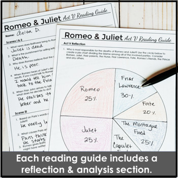 Romeo and Juliet Reading Guide Bundle with Engaging Study Guides for Each Act