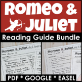 Romeo and Juliet Reading Guide Bundle for Each Act With PDF, GOOGLE, & Easel
