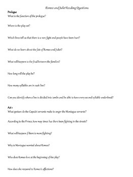 Romeo and Juliet Reading Packet