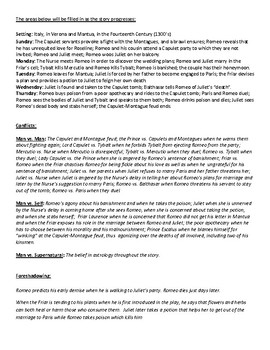 Romeo and Juliet Reading Preparation Worksheets and Answer Key