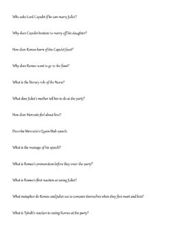 Romeo and Juliet Reading Questions