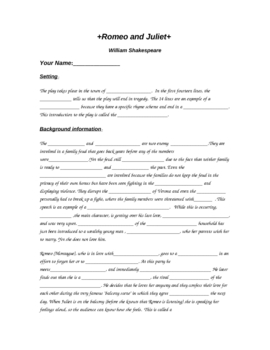 Romeo and Juliet Review Activity/Fill in the Blank Worksheet | TpT