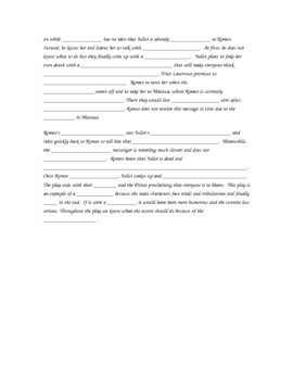 Romeo and Juliet Review Activity/Fill in the Blank Worksheet