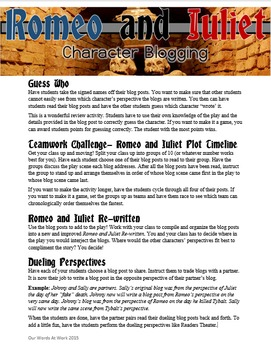 Romeo and Juliet Review- Character Blogging
