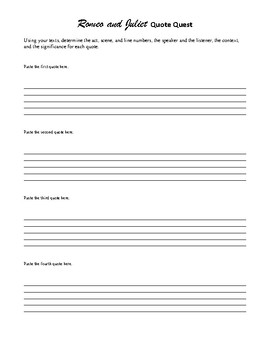 Romeo and Juliet: Review Game or Challenge - Individual or Group Activity