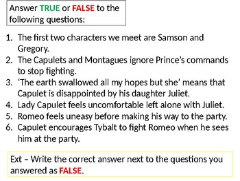 Romeo and Juliet Revision