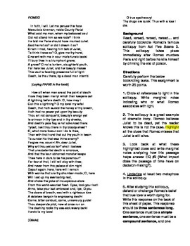 Romeo and Juliet: Romeo's Act V Soliloquy Close Reading Activity