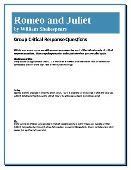 Romeo and Juliet - Shakespeare - Group Critical Response Questions