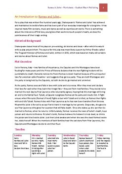 Romeo and Juliet - Shakespeare Worksheets Radiant Heart Publishing