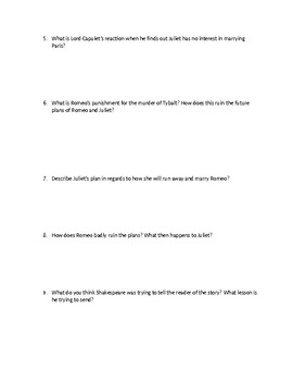 Romeo and Juliet Short Answer Test