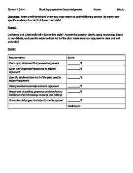 Topic For English Essay Romeo And Juliet Short Argumentative Essay The Yellow Wallpaper Character Analysis Essay also Thesis In An Essay Romeo And Juliet Short Argumentative Essay By Ela Resources By Ms  Help With Essay Papers