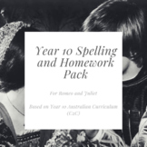 Romeo and Juliet Spelling and Homework Pack