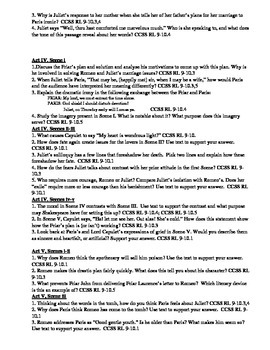 Romeo and Juliet Student Common Core Response Questions
