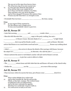 Romeo and Juliet Study Guide, Cloze Notes, and Important Passages