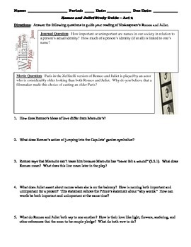 Romeo and Juliet Study Guide Packet