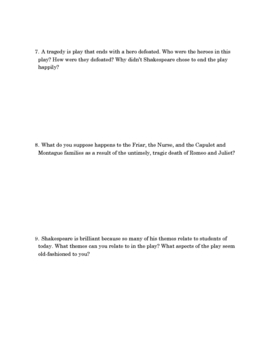 Romeo and Juliet Study Questions - Scene by Scene