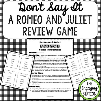 Romeo And Juliet Taboo Inspired Review Game By The Engaging Station
