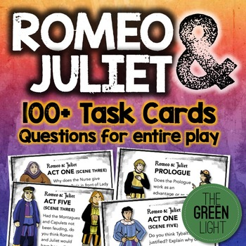 Romeo and Juliet Task Cards: Quizzes, Discussion Questions