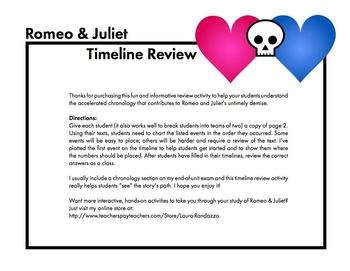 Romeo and Juliet Timeline Review Worksheet, use with Shakespeare's Play