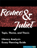 Romeo and Juliet Topic, Theme, Thesis, and Essay Planning Packet