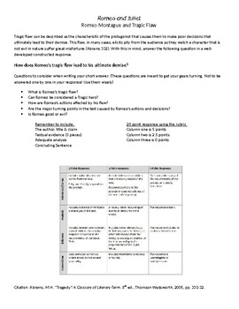 Romeo and Juliet/ Tragic Flaw - Constructed Response - Test Prep