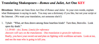 Romeo and Juliet: Translating Shakespeare: Five Worksheets and Keys