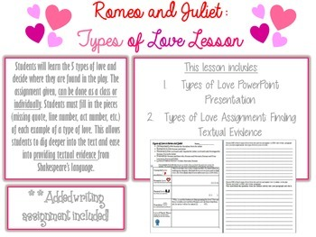 """Romeo and Juliet """"Types of Love Assignment"""""""