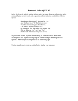 Romeo and Juliet Unit: Act III (3) Study Guide and Quiz