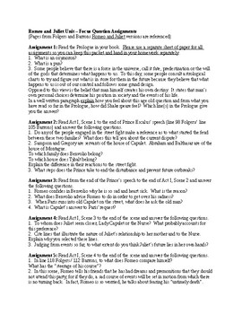 Romeo and Juliet Unit Assignments - Focus Questions