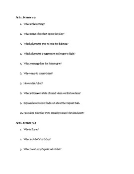 Romeo and Juliet Unit Study Guide