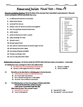 Romeo and Juliet Unit Test - Common Core Aligned