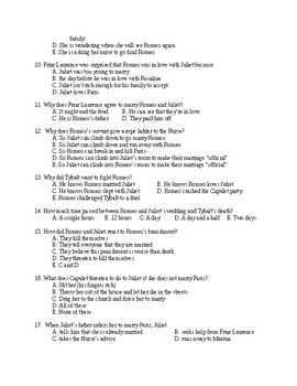 Romeo and Juliet Unit Test with Key