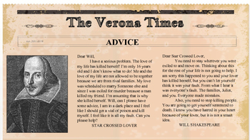Romeo and Juliet Verona Times Newspaper Project